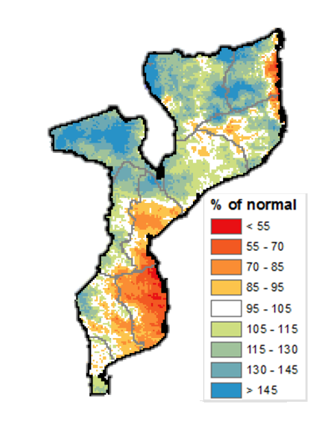 Map of Mozambique showing percent of rainfall anomalies throughout the country. Southern and central regions show a deficit of 70-85% of normal while coastal Inhambane shows deficits up to less that 55% of normal