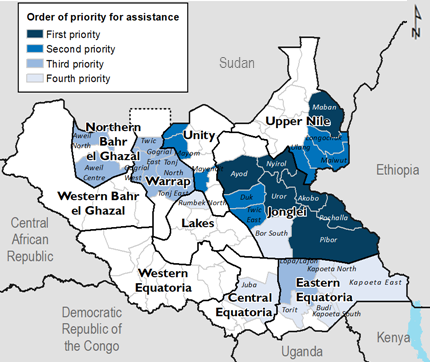 Map of South Sudan indicating the order of priority for assistance in areas affected by flooding. First priority includes Maban of Upper Nile and Pibor, Pochalla, Akobo, Uror, Nyirol, and Ayod of South Sudan.