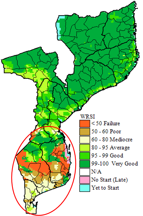 Map of Water Requirements Satisfaction Index for maize grain in Mozambique in February 2020. Most of the southern region is facing mediocre, poor, or failure.