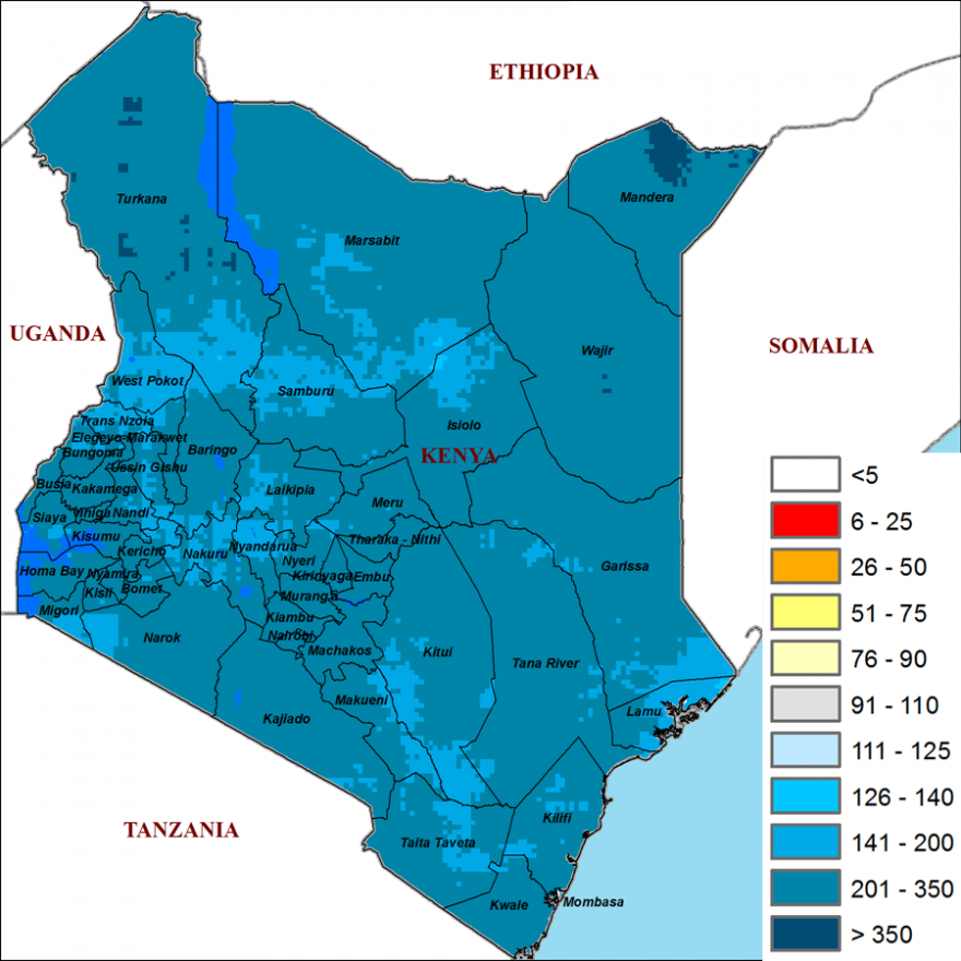 Map of Kenya showing cumulative rainfall performance from October to December 2019. Cumulative rainfall was 140-350 percent of the 1981-2010 average across the country.
