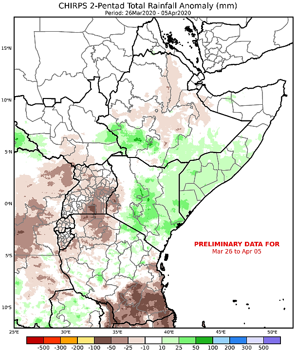 Map depicting the cumulative rainfall anomaly in mm from the long-term mean in the East Africa region from March 26th through April 5th.