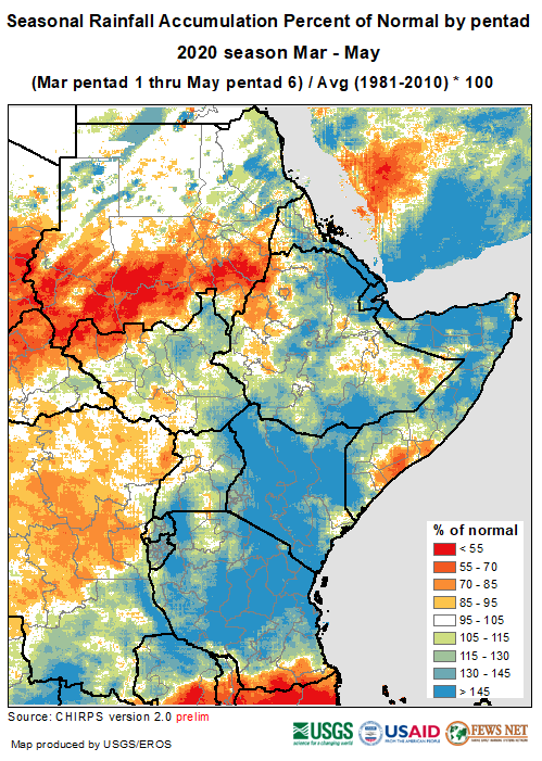 Map of East Africa and Yemen depicting rainfall performance from March to May as a percent of the long-term average