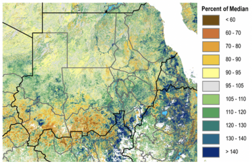 This figure depicts mostly above normal vegetation conditions across much of Sudan, except in parts of South Kordofan and southern areas of the Darfur states, where vegetation conditions are below normal.