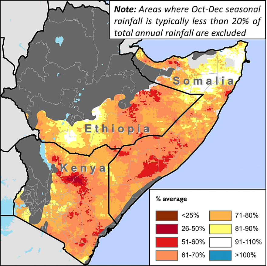 Map of the Ethiopia, Somalia, and Kenya showing average October to December rainfall performance in years with similar climate drivers as a percent of the 1981 to 2010 average
