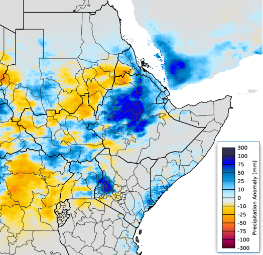 Map of East Africa showing the CHIRPS preliminary rainfall anomaly in mm relative to the 1981-2010 mean, July 01-31, 2020