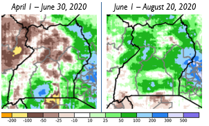 Cumulative rainfall anomaly in mm compared to the 1981-2019 average