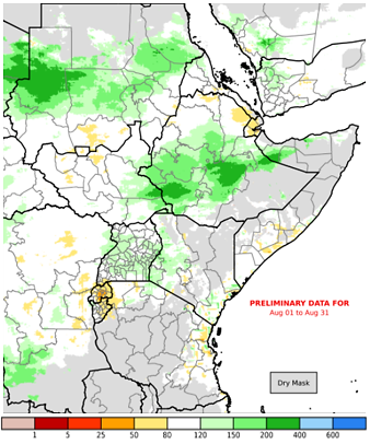 Map of East Africa depicting rainfall performance as a percent of normal in the month of August 2020