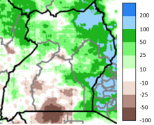 Map of Uganda showing the rainfall anomaly in mm compared to the 1981-2018 average, September 1 – October 25, 2020
