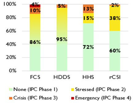 Graph showing the severity of food insecurity among rural households in Somalia as of July 2020 according to food consumption outcome indicators
