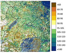 Map of Uganda showing the vegetation conditions compared to the recent median as of early December