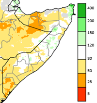 Map of Somalia showing rainfall accumulation during October-December 2020 as a percent of the long-term average