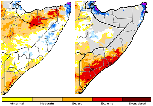 Map of Somalia showing the status of the Standard Precipitation Index Drought Monitor for October 1-December 31, 2020 and for November 11-February 10, 2021