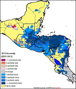 Map of Central America showing anomaly in the onset of the rainfall season as of April 20, 2021