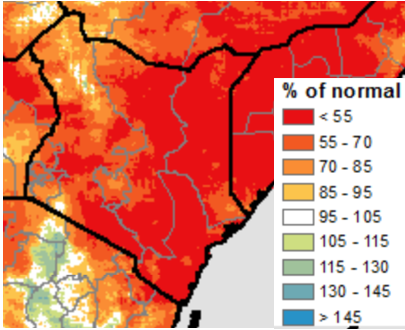Map of Kenya depicting rainfall as a percent of normal. Rainfall is less than 55 percent of average across most of eastern and southern Kenya and parts of western Kenya.