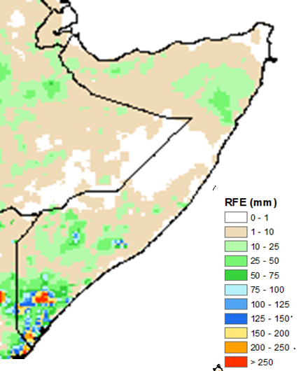 Map depicting rainfall accumulation in mm across Somalia. According to satellite-derived data, most of Somalia received less than 10 mm. Some areas in northwestern, northeastern, and southern Somalia received 10-50 mm. The Juba regions received the heaviest amounts, ranging from 75 to 250 mm.