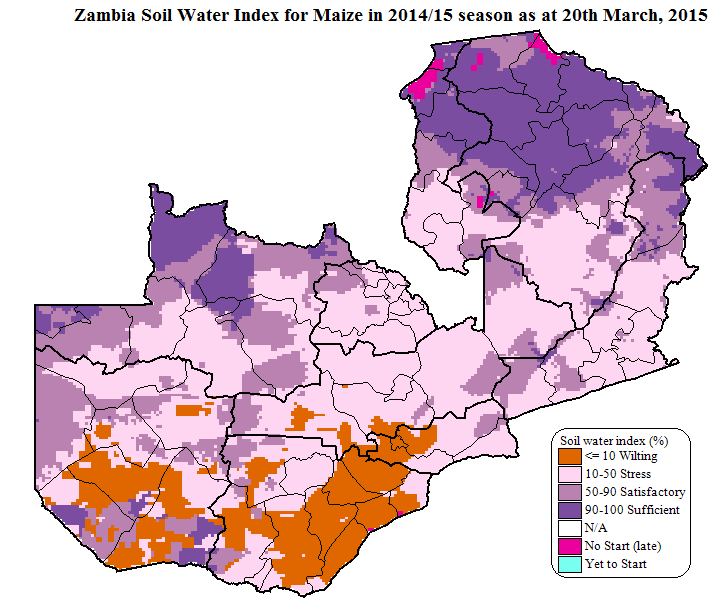 Soil Water Index for maize for the 2014/15 production year, as of March 20, 2015.
