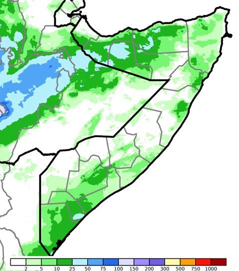Map depicting cumulative rainfall in millimeters. CHIRPS preliminary data indicate up to 25 mm of rainfall fell in many areas in the South. Central regions mostly stayed dry. IN the north, rainfall ranged from 10 to 50 mm, except in parts of Awdal, Woqooyi Galbeed, and Bari.
