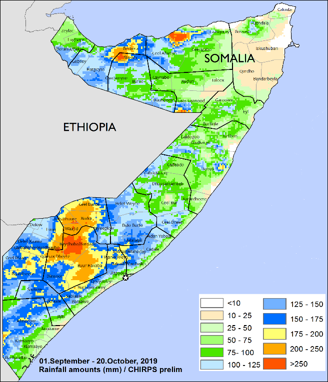Map of rainfall in mm recevied from September 1 to October 20. Most of the South and Northwest received 100-175 millimeters of rainfall, while central and northeastern regions received 50-150 mm and 10-50 mm, respectively. In Bay and Bakool and in localized areas of Gedo, Shabelle, Woqooyi Galbeed, Togdheer, and Sanaag, rainfall exceeded 200 mm.