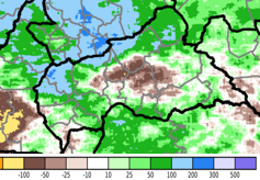 Rainfall anomaly map in mm. Rainfall accumulative was 200 mm above average in western and northern CAR and up to 100 mm below average in central CAR.