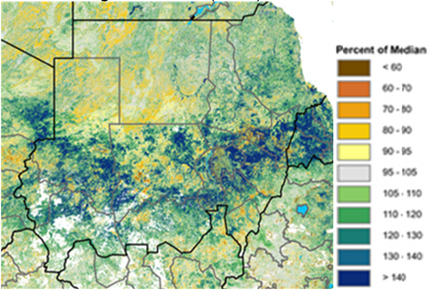 Figure 1. NDVI graphic showing good vegetation conditions across Sudan.
