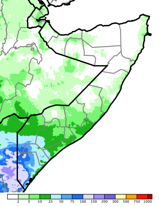 Map of Somalia. cumulative rainfall in the South was 5-25 millimeters (mm) in most areas, though heavy rainfall amounts of 25-150 were recorded in the Jubas and Gedo. Localized areas in central and northern Somalia only accumulated minimal levels not exceeding 10 mm.