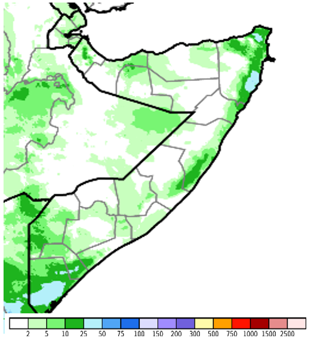 Map of Somalia. According to satellite-derived CHIRPS preliminary data, most areas accumulated 10-50 millimeters (mm) of rainfall while most of Bari and parts of Nugaal, Galgaduud, Gedo, and Juba regions received more than 50 mm of rainfall.