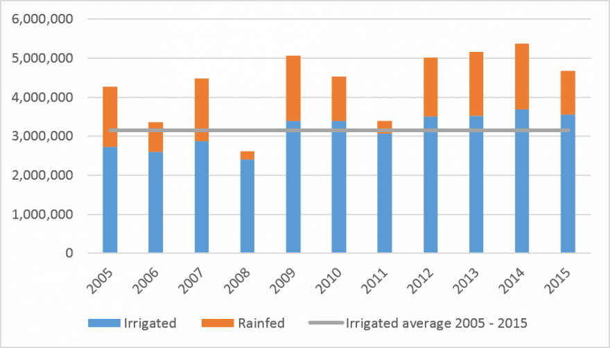 Irrigated and rainfed wheat production estimates for Afghanistan, 2005 – 2015 (MT)