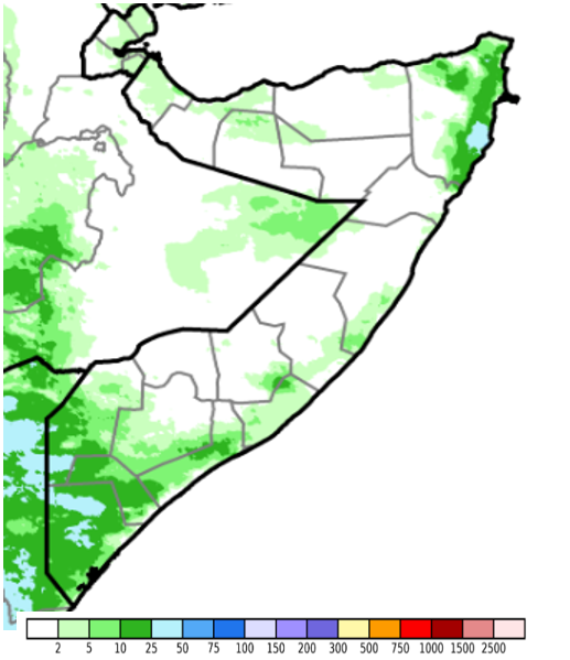 Map of Somalia. Rainfall ranged between 10 and 50 millimeters (mm) in localized northeastern and southern areas, while other parts of the country received less than 10 mm or no rainfall at all