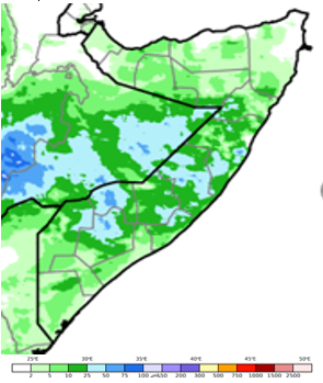 Map of Somalia showing rainfall accumulation in mm for the October 11-20 period