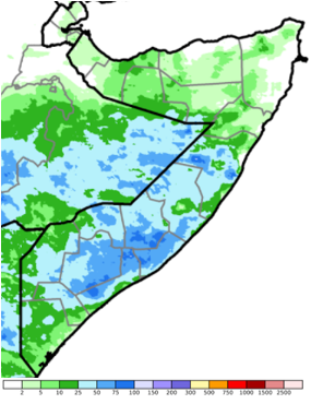 Map of Somalia showing rainfall accumulation in mm from October 21st to 31st, 2020