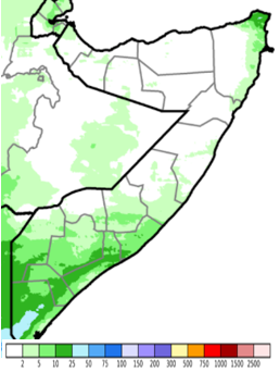 Map of Somalia showing rainfall accumulation in mm