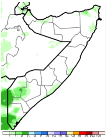Map of Somalia showing total rainfall in mm, December 1-10, 2020