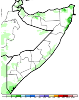 Map of Somalia showing total rainfall in mm, December 11-20