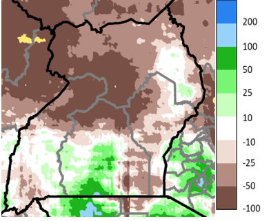 Map of Uganda showing rainfall accumulation anomaly in mm