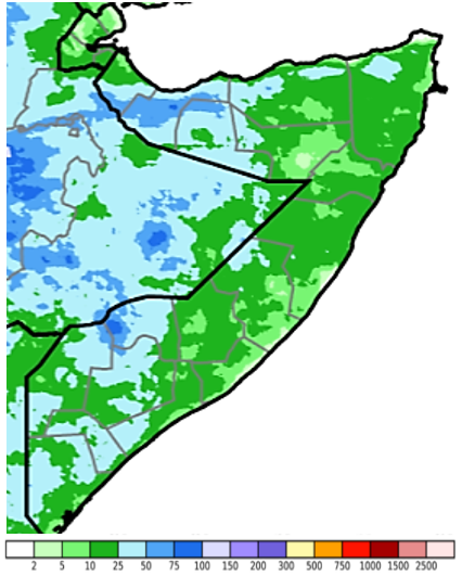 Map of Somalia showing estimated rainfall (CHIRPS Preliminary) in mm, April 21-30, 2021