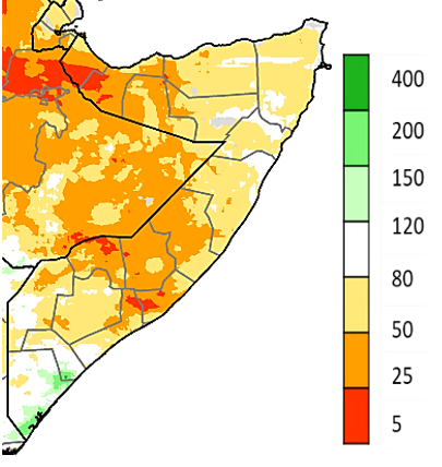 Map of Somalia showing Rainfall as a percent of the 1981-2018 average, CHIRPS preliminary, April 1-15, 2021