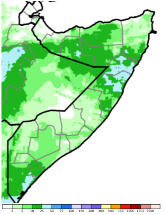 Map of Somalia showing estimated rainfall (CHIRPS Preliminary) in mm, May 21-30, 2021