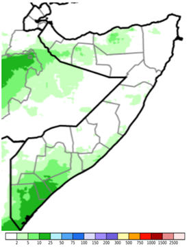 Map of Somalia showing estimated rainfall (CHIRPS Preliminary) in mm, June 1-10, 2021