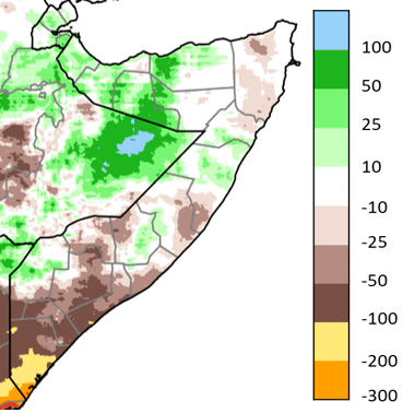 Map of Somalia showing the Difference in total rainfall (mm) received from April 1 to June 30, 2021, compared to the 1981-2020 average