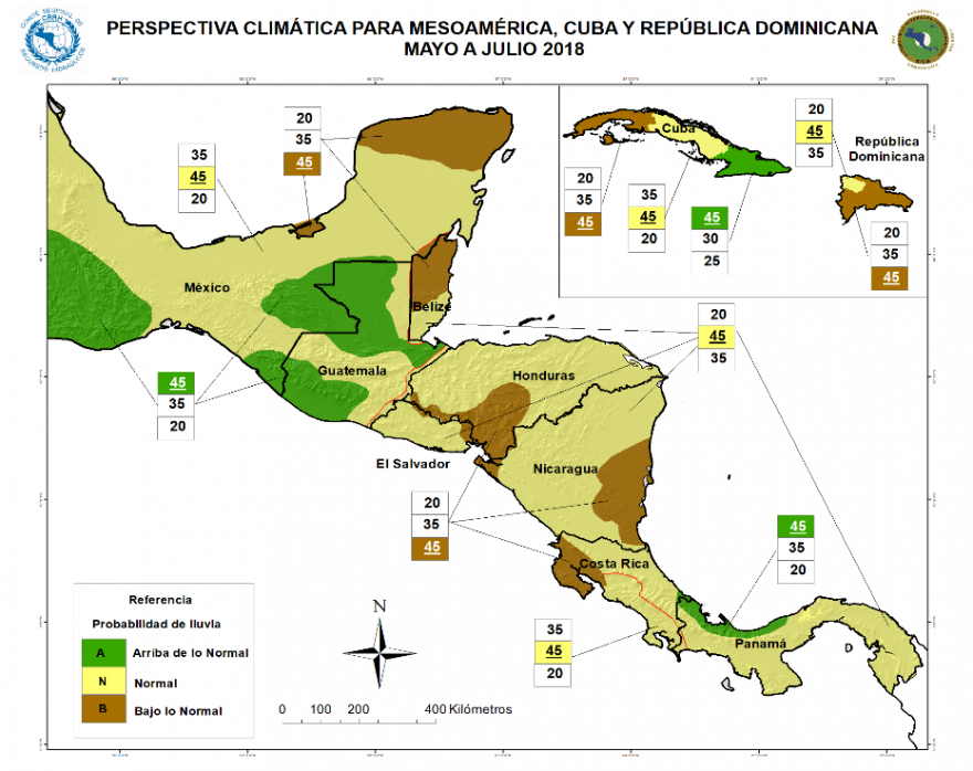 Seasonal Outlook for Mesoamerica, Cuba, and the Dominican Republic. May to July 2018, cumulative rainfall probabilities versus average.