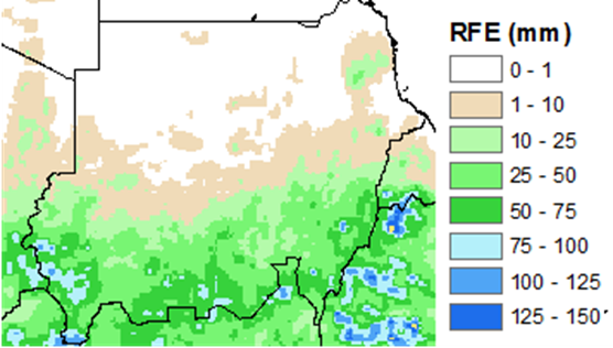 Satellite Rainfall Estimates (RFE) shows a range of rainfall estimates for the 2nd Dekad in June 2018. RFE shows large amounts of rainfall in the south-west part of the country. Rainfall quantity is higher in southern parts of the country, with a gradual