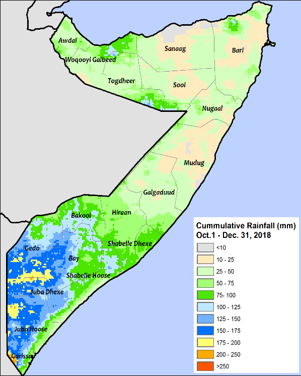 Rainfall ranged from 10 to 50 mm across most northern and central regions. Rainfall in the South ranged from 50 to 200 mm.
