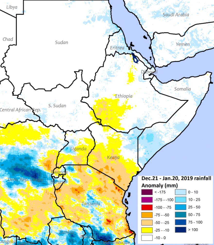 The northern sector of East Africa received mostly average rainfall. The equatorial sector received below average rainfall, except for central and southern Tanzania