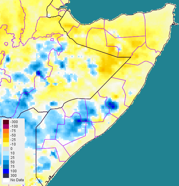 Figure 1. Rainfall anomaly in millimeters (mm) from 2001-2014 mean (RFE2), October 1-10, 2015