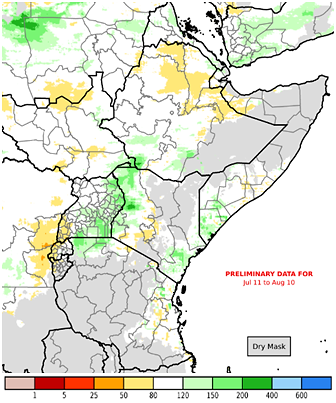 Map of cumulative rainfall from July 11th to August 10th, 2019, and a percent of the 1981-2010 average. Rainfall was broadly average in the northern and western sectors, though localized areas received above average amounts in Sudan, Uganda, and western Kenya. Parts of northern Ethiopia and localized areas in Sudan received slightly below average rainfall.
