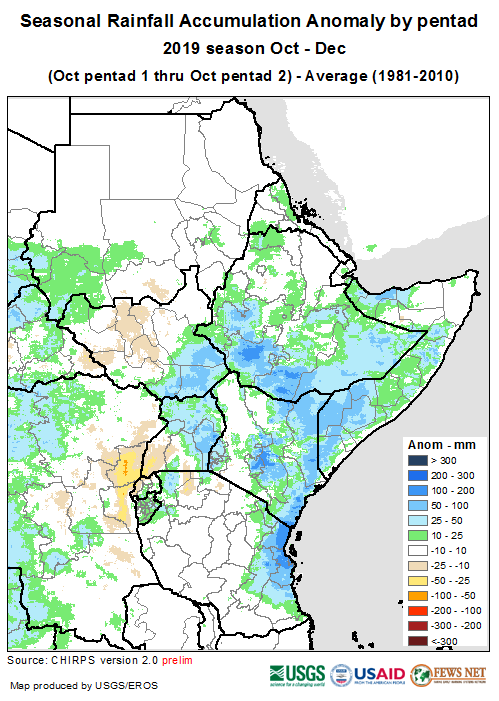 Map of rainfall anomalies across East Africa. Early October brought average to above-average rainfall to bimodal areas of Ethiopia, Somalia, Kenya, Tanzania, Rwanda, Burundi, and Uganda.