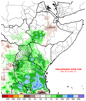 Map of East Africa region showing rainfall performance as a percent of normal in comparison to the long-term average from February 16 to March 15, 2020. Since mid-February, Tanzania and equatorial East Africa have received above-average rainfall. The Horn of Africa has remained seasonally dry and hot since January.