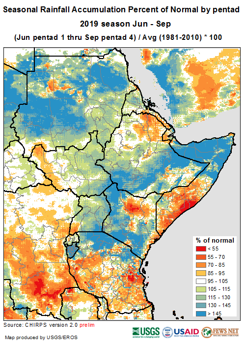 Map of cumulative rainfall for September 1-15 and forecast rainfall for September 15-30. Positive anomalies are expected in northwestern Somalia, central to eastern Ethiopia, Burundia, coastal Kenya, and Sudan. Negative anomalies are expected in southern coastal Somalia.