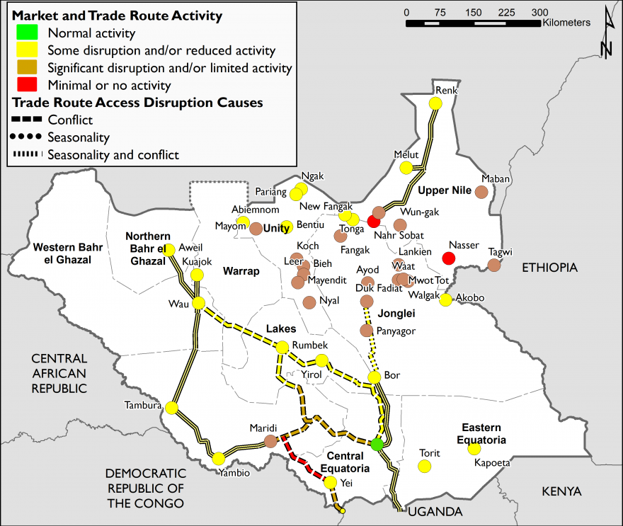 Map showing market functioning and trade route activity in South Sudan as of June 2020