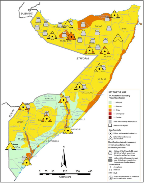 Map of Somalia showing current acute food insecurity outcomes according to the IPC v3.0 wheat bag mapping protocol, July-September 2021